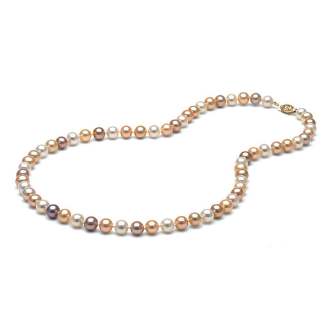 AAA Quality 6.5-7.0mm Natural Multicolor Freshwater Cultured Pearl Necklace