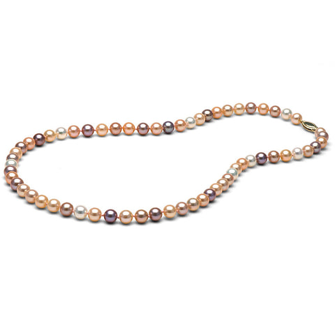 AAA Quality 6.0-7.0mm Multi-Colored Freshwater Orient Pearl Necklace