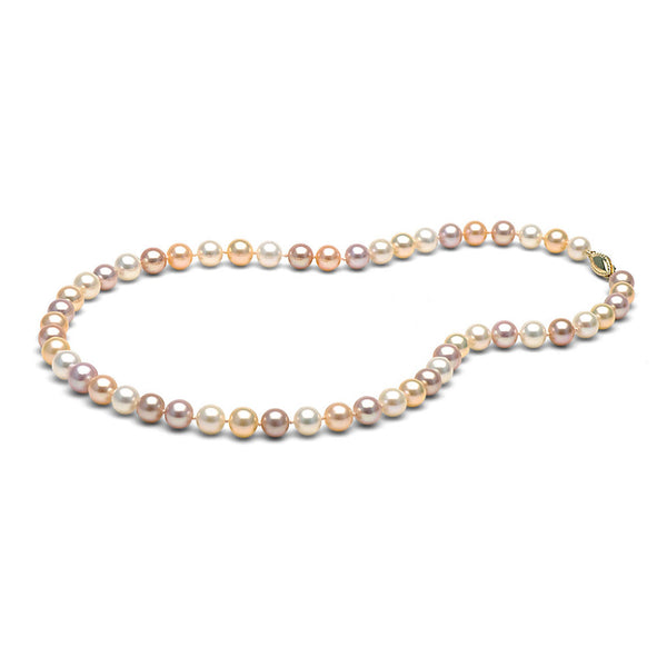 7.0-8.0mm Multi-Colored Freshwater Gem Grade Pearl Necklace