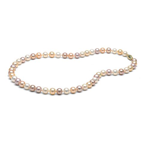 AAA Quality 7.0-8.0mm Multi-Colored Freshwater Orient Pearl Necklace
