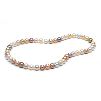Multi-Color Freshwater Gem Grade  Necklace, 9.5-10.0mm