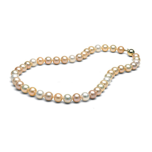 AAA Quality 9.5-10.5mm Natural Multi-Colored Freshwater Cultured Pearl Necklace