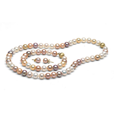Multi-Color Freshwater Gem Grade Pearl Set, 8.5-9.0mm