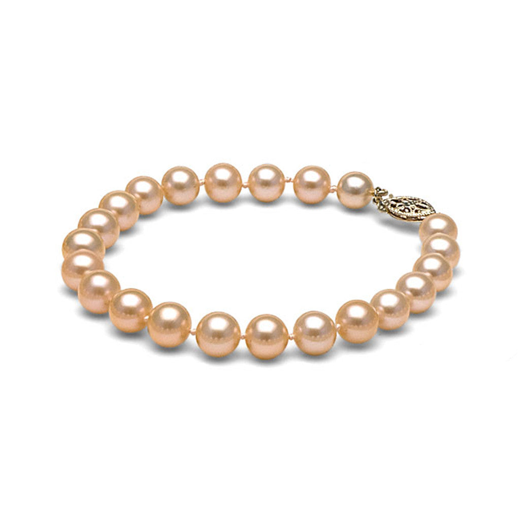 AAA Quality 7.5-8.0mm Peach/Pink Freshwater Cultured Pearl Bracelet