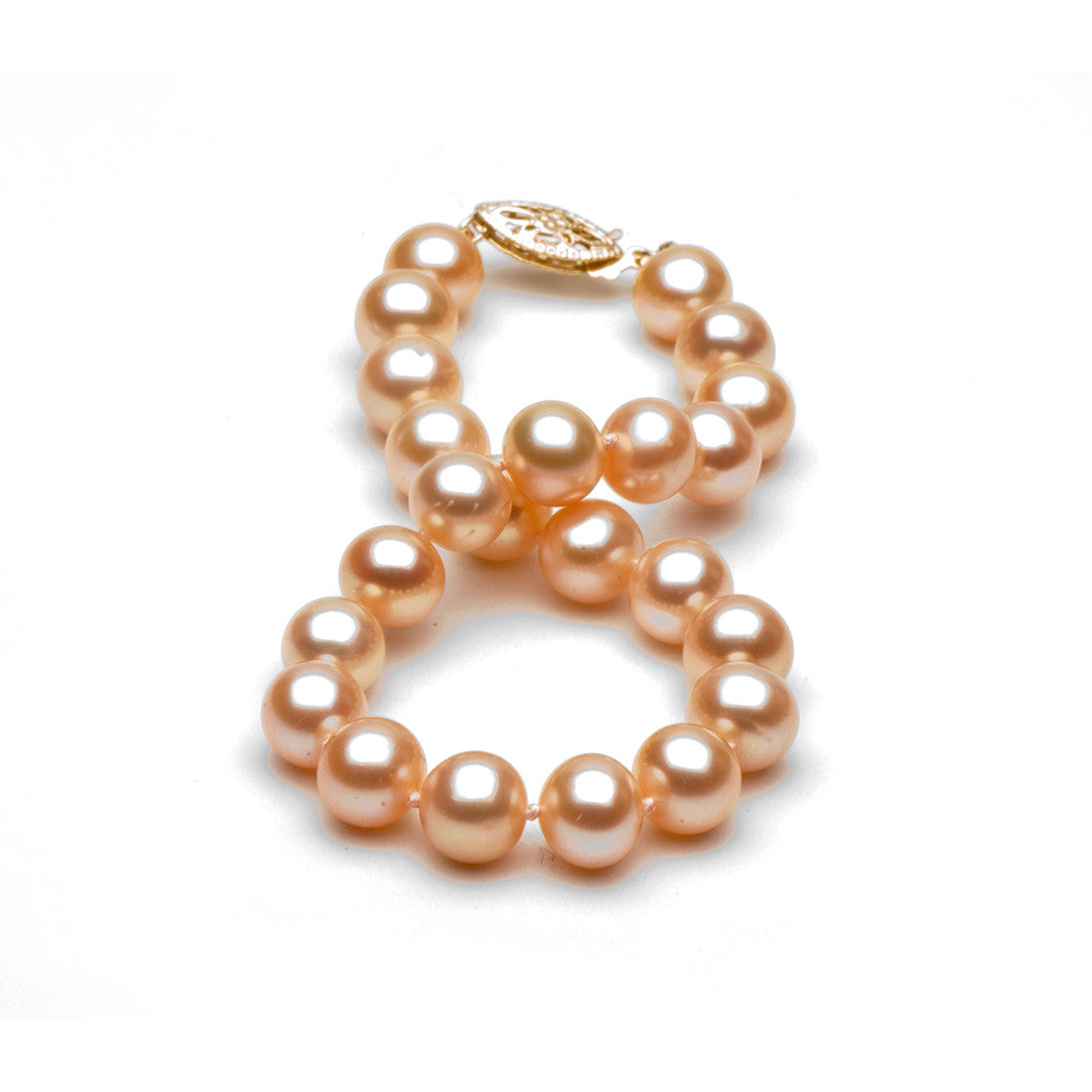 AA+ Quality 7.5-8.0mm Peach/Pink Freshwater Cultured Pearl Bracelet
