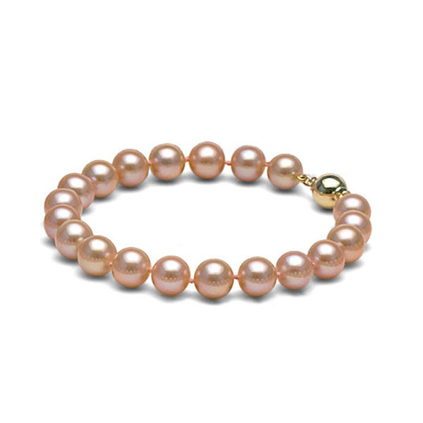 AAA Quality 8.0-9.0mm Peach/Pink Freshwater Cultured Pearl Bracelet