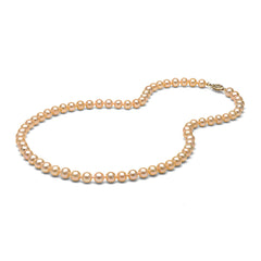 AAA Quality 6.0-7.0mm Natural Peach/Pink Freshwater Cultured Pearl Necklace