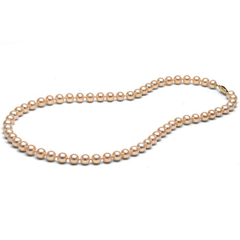 6.0-7.0mm Peach/Pink Freshwater Gem Grade Pearl Necklace