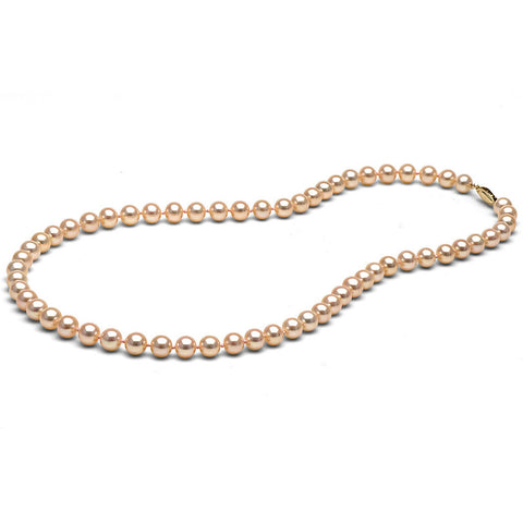 AAA Quality 6.0-7.0mm Peach/Pink Freshwater Orient Pearl Necklace