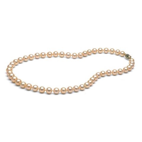 AAA Quality 7.0-8.0mm Peach/Pink Freshwater Orient Pearl Necklace