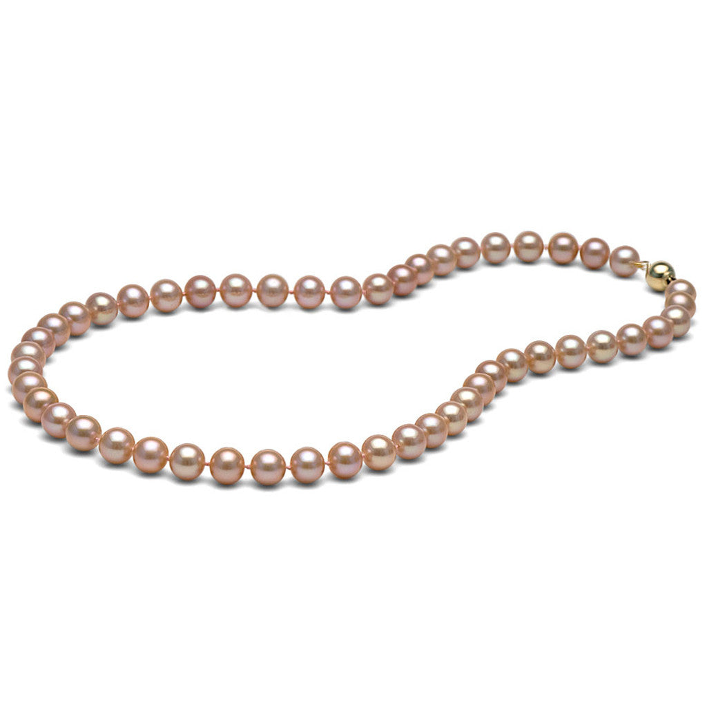 AAA Quality 8.0-9.0mm Natural Peach/Pink Freshwater Cultured Pearl Necklace