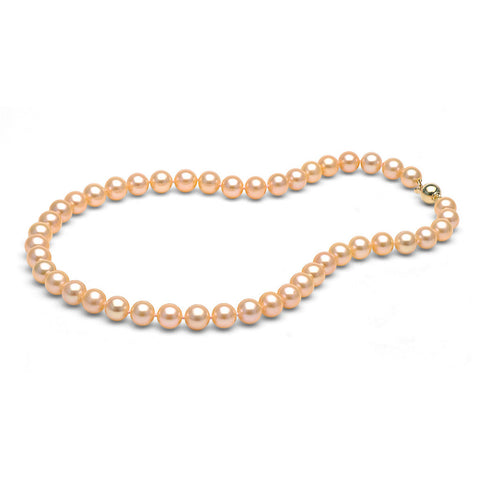 AAA Quality 8.0-9.0mm Peach/Pink Freshwater Orient Pearl Necklace