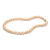 8.0-9.0mm Peach/Pink Freshwater Gem Grade Pearl Necklace