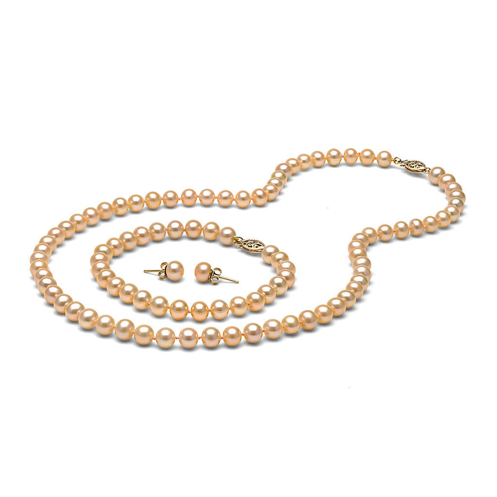 AA+ Quality 6.5-7.0mm Peach/Pink Freshwater Cultured Pearl Set