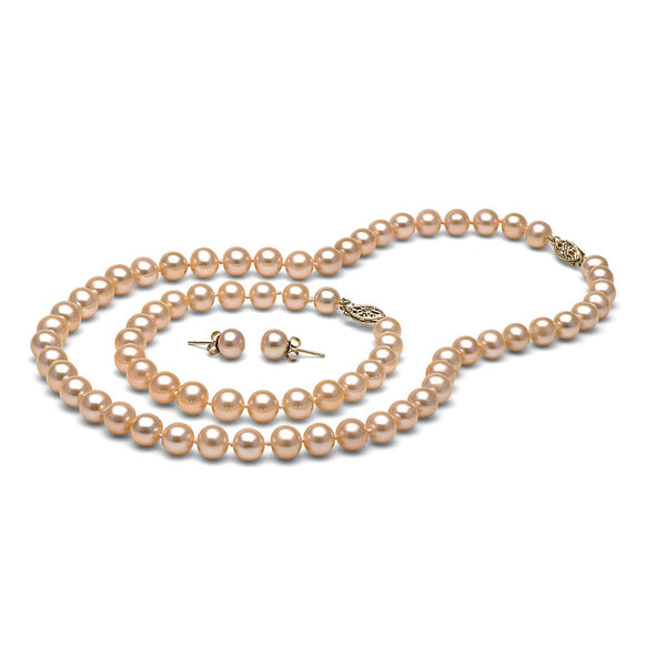 AAA Quality 7.5-8.0mm Pink/Peach Freshwater Cultured Pearl Set