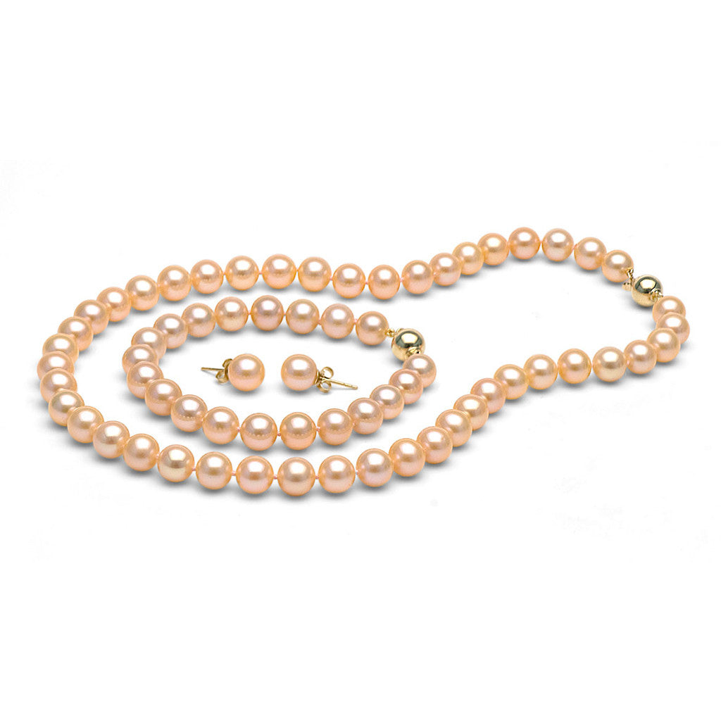 AA+ Quality 8.5-9.0mm Peach Freshwater Cultured Pearl Set