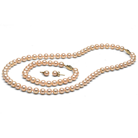 AAA Quality 6.0-7.0mm Peach/Pink Freshwater Orient Pearl Set