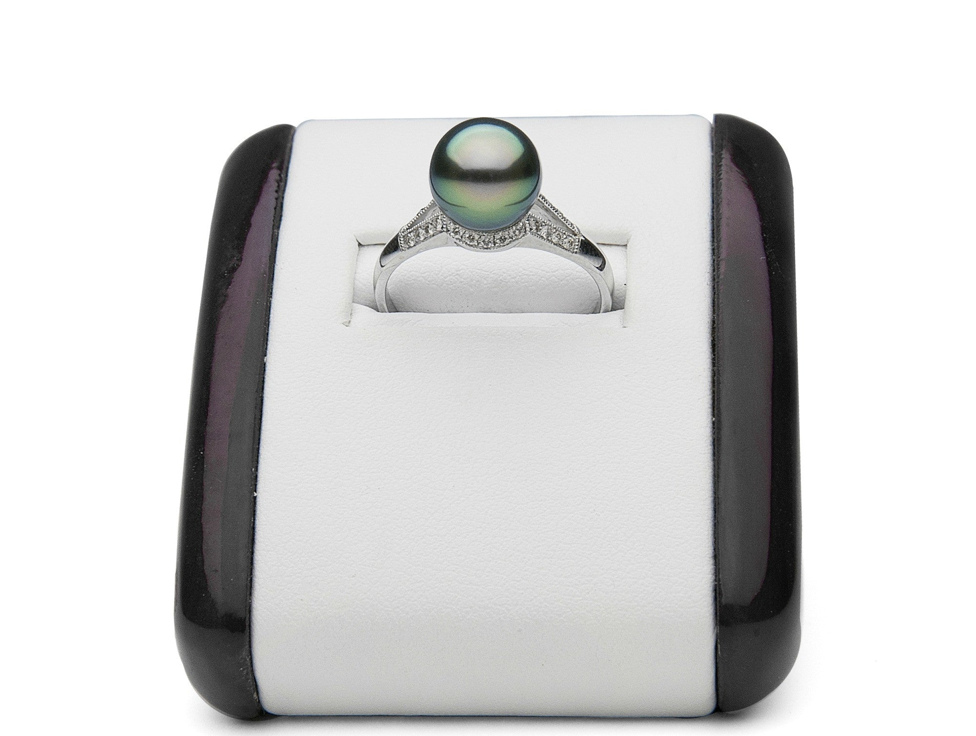AAA Quality 8.0-10.0mm Tahitian Pearl Ring with Diamonds - Aurora Collection