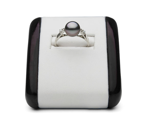 AAA Quality 8.0-9.0mm Tahitian Pearl & Diamond Ring - Piccadilly Collection