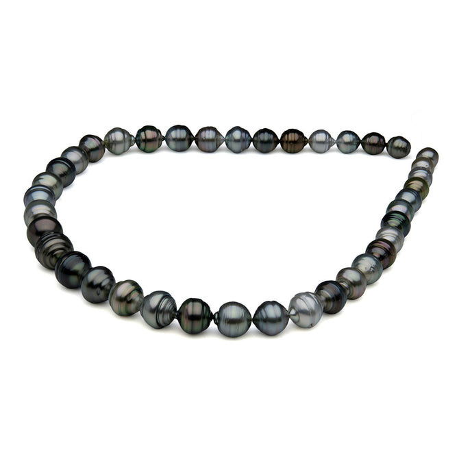 AA+ Quality Multi-Color Baroque Tahitian Pearl Necklace, 7.9-11.5mm