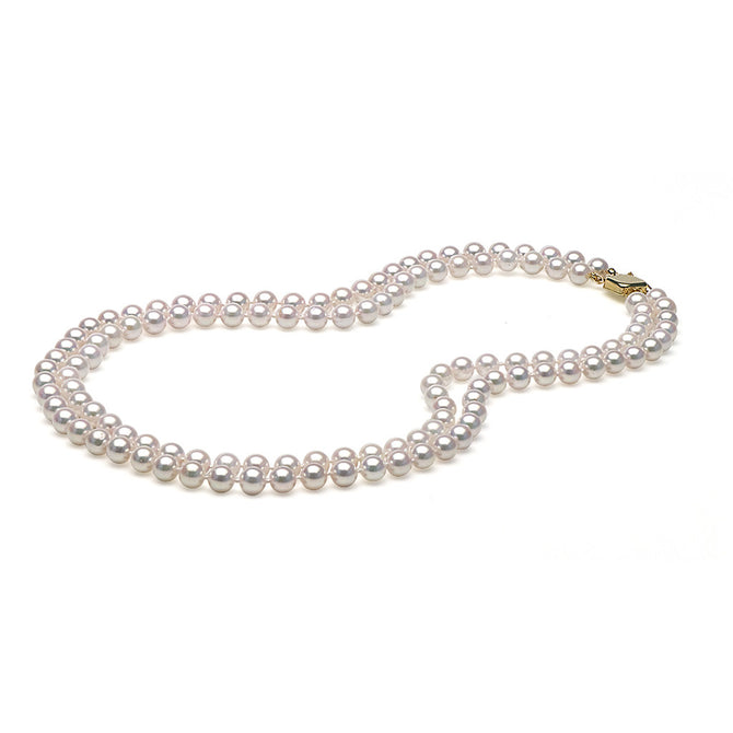 AA+ Quality White Akoya Double Strand Necklace, 6.0-6.5mm