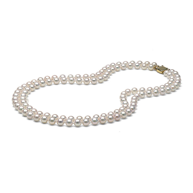 AA+ Quality White Akoya Double Strand Necklace, 7.0-7.5mm