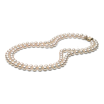 AAA Quality White Akoya Double Strand Necklace, 7.0-7.5mm
