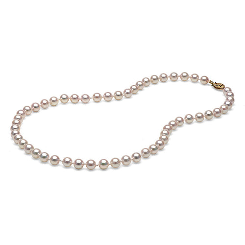 AAA Quality White Akoya Necklace, 6.0-6.5mm