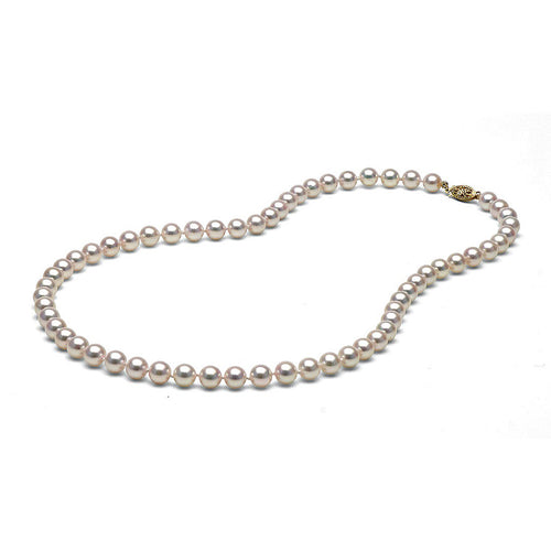AAA Quality White Akoya Necklace, 6.5-7.0mm