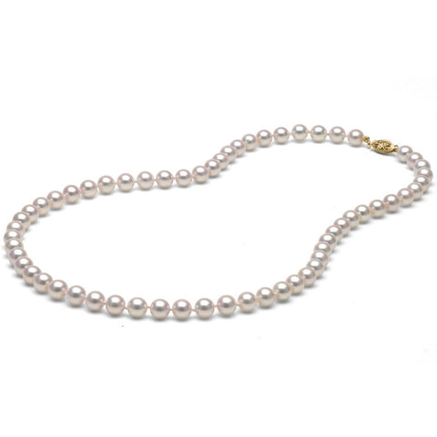 AA+ Quality 6.5-7.0mm White Akoya Pearl Necklace