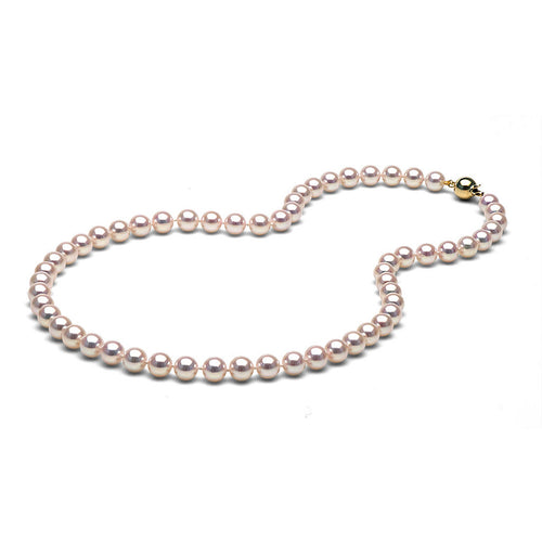 AAA Quality White Akoya Necklace, 7.0-7.5mm
