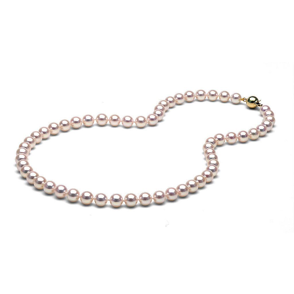 AA+ Quality 7.0-7.5mm White Akoya Cultured Pearl Necklace