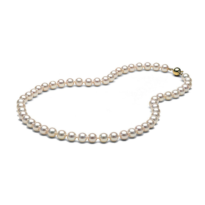 AAA Quality White Akoya Necklace, 7.5-8.0mm