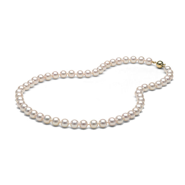 AA+ Quality 7.5-8.0mm White Akoya Cultured Pearl Necklace