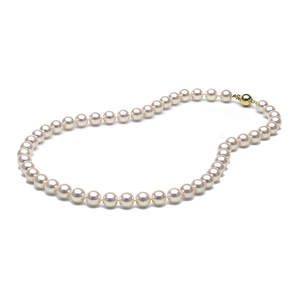 AAA Quality 8.0-8.5mm White Akoya Cultured Pearl Necklace