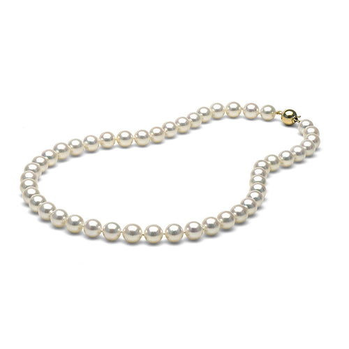 AAA Quality White Akoya Necklace, 8.5-9.0mm