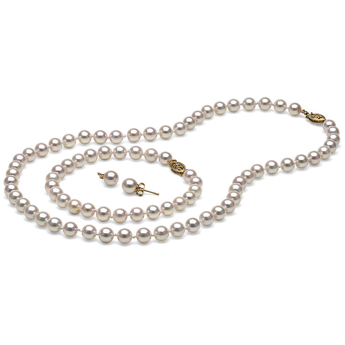 AAA Quality White Akoya Pearl Set, 6.0-6.5mm
