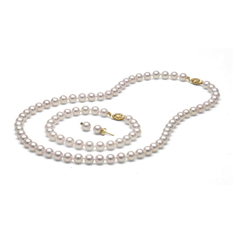 AA+ Quality 6.5-7.0mm White Akoya Cultured Pearl Set