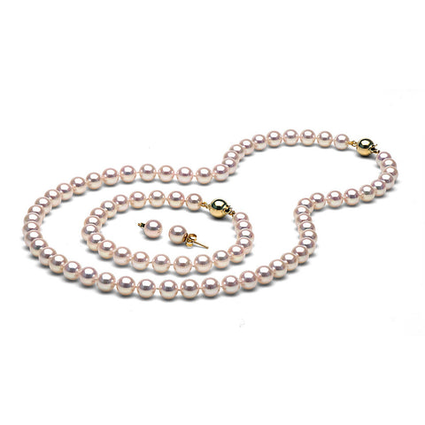 AA+ Quality 7.0-7.5mm White Akoya Cultured Pearl Set