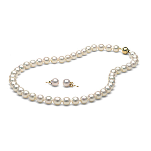 AAA Quality White Akoya Necklace & Earrings Set, 8.5-9.0mm