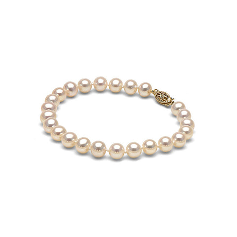 AA+ Quality 6.0-7.0mm White Freshwater Cultured Pearl Bracelet