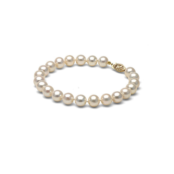 AA+ Quality 7.0-8.0mm White Freshwater Cultured Pearl Bracelet
