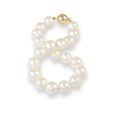 AAA Quality 9.5-10.5mm White Freshwater Cultured Pearl Bracelet