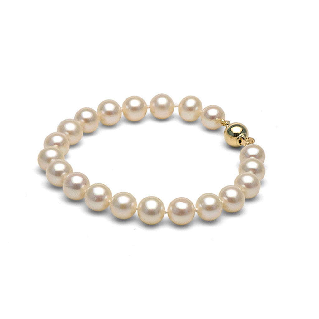 AAA Quality 9.5-10.0mm White Freshwater Cultured Pearl Bracelet