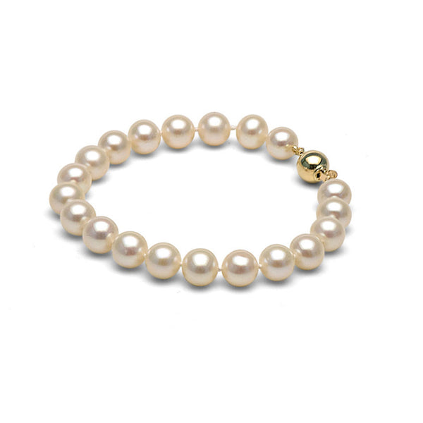 AA+ Quality 9.5-10.0mm White Freshwater Cultured Pearl Bracelet