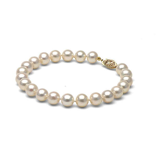 AAA Quality 7.5-8.0mm White Freshwater Cultured Pearl Bracelet