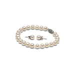 AA+ Quality White Freshwater Pearl Bracelet and Earring Set, 6.5-7.0mm