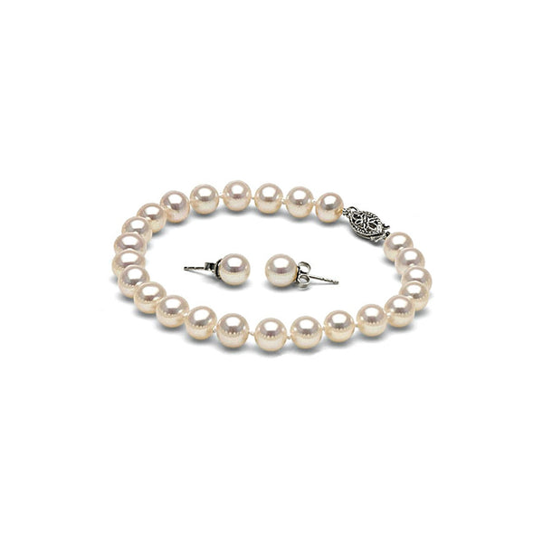 AA+ Quality 6.5-7.0mm White Freshwater Pearl Bracelet and Earring Set