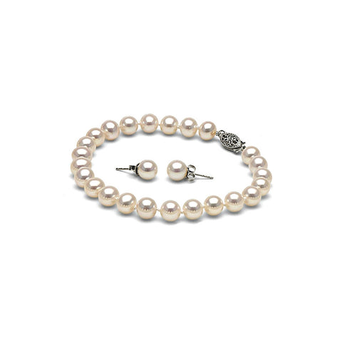 AA+ Quality 6.0-7.0mm White Freshwater Pearl Bracelet and Earring Set