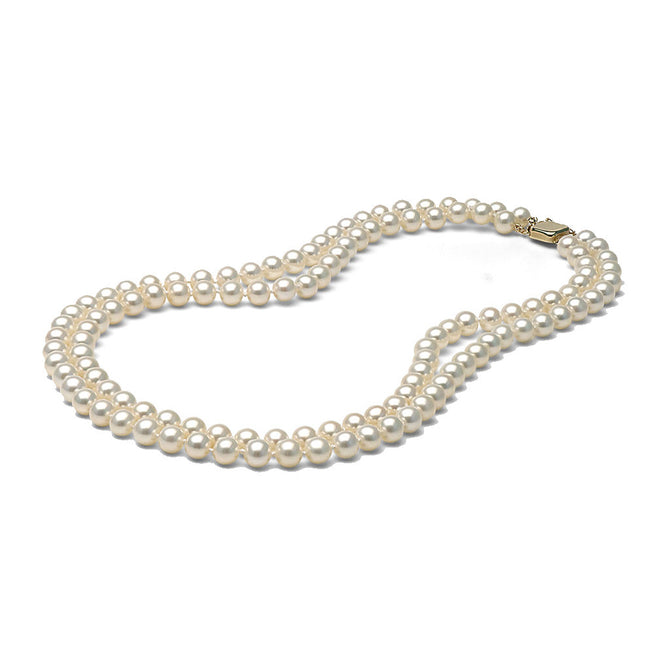 AA+ Quality White Double Strand Freshwater Necklace, 6.5-7.0mm